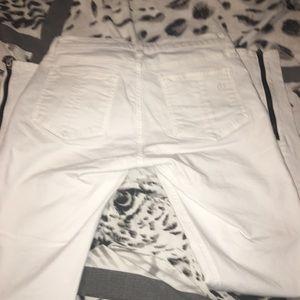 rag & bone Pants - While and Black Zippered Skinny Jeans